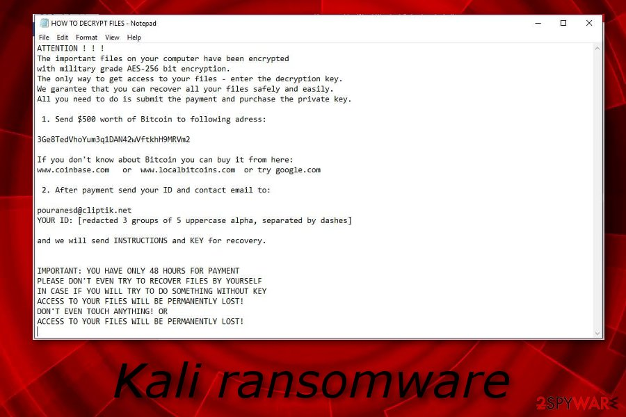 Remove Kali ransomware (Decryption Methods Included) - Virus Removal