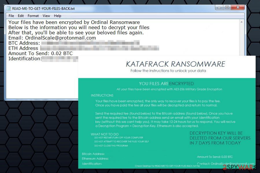 Ransom notes by Katafrack ransomware