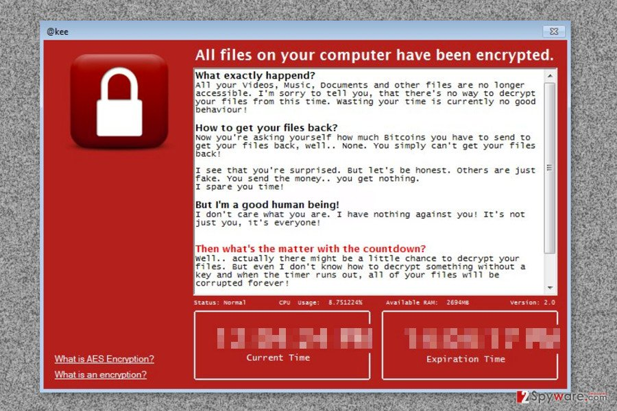 The ransom note delivered by Kee ransomware