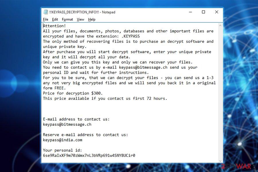 Keypass ransomware ransom note
