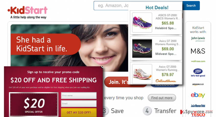 Featuring Ads by KidStart Savings Prompt on the offical page