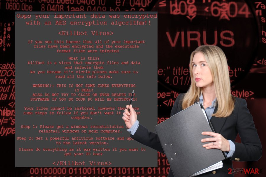 Ransom note by KillBot ransomware virus