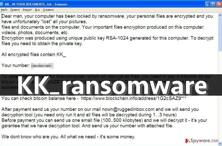 KK_ ransomware leaves this ransom note in victim's computer