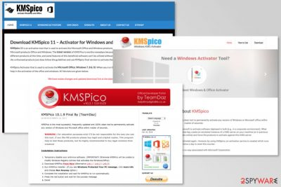 Websites used to spread KMSPico