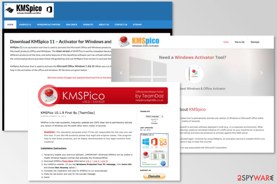 Websites used to spread KMSPico