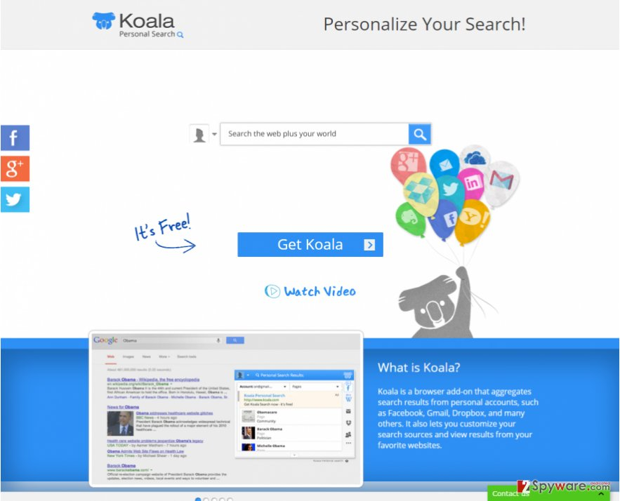 Koala Personal Search snapshot