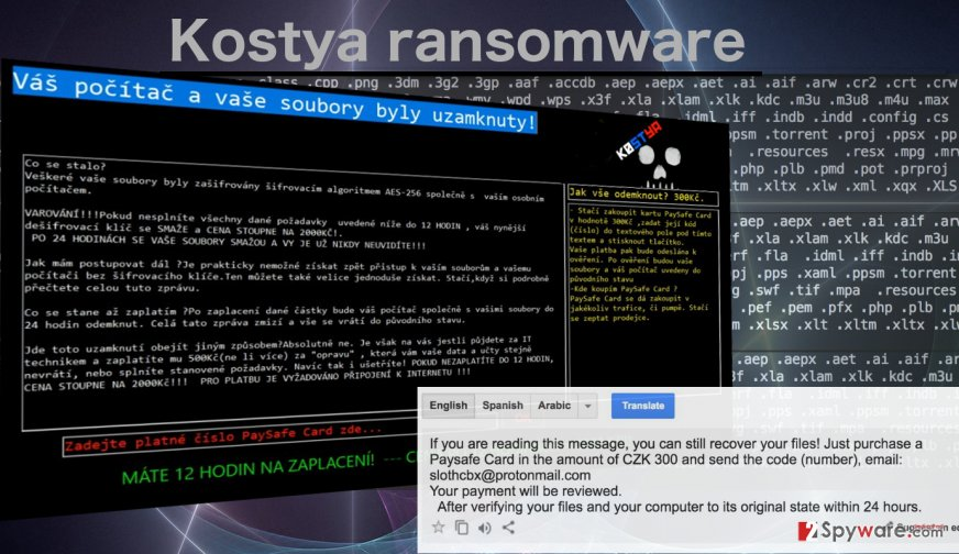 Image of the Kostya ransomware virus