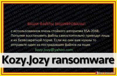 Kozy.Jozy ransomware virus leaves a ransom note on a desktop