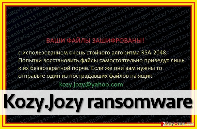 Kozy.Jozy ransomware virus leaves a ransom note on a desktop