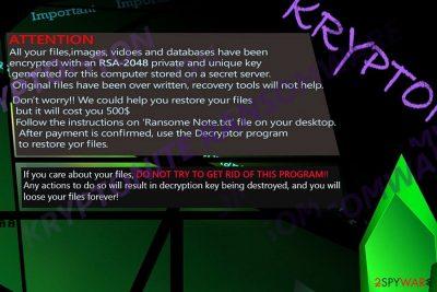 The image illustrating Kryptonite ransomware