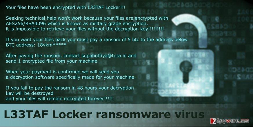 The fragment of L33TAF Locker ransomware virus