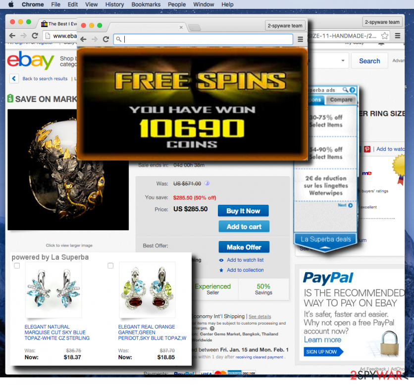 La Superba adware displaying ads on a shopping website