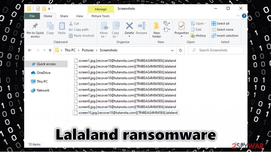Lalaland ransomware locked files
