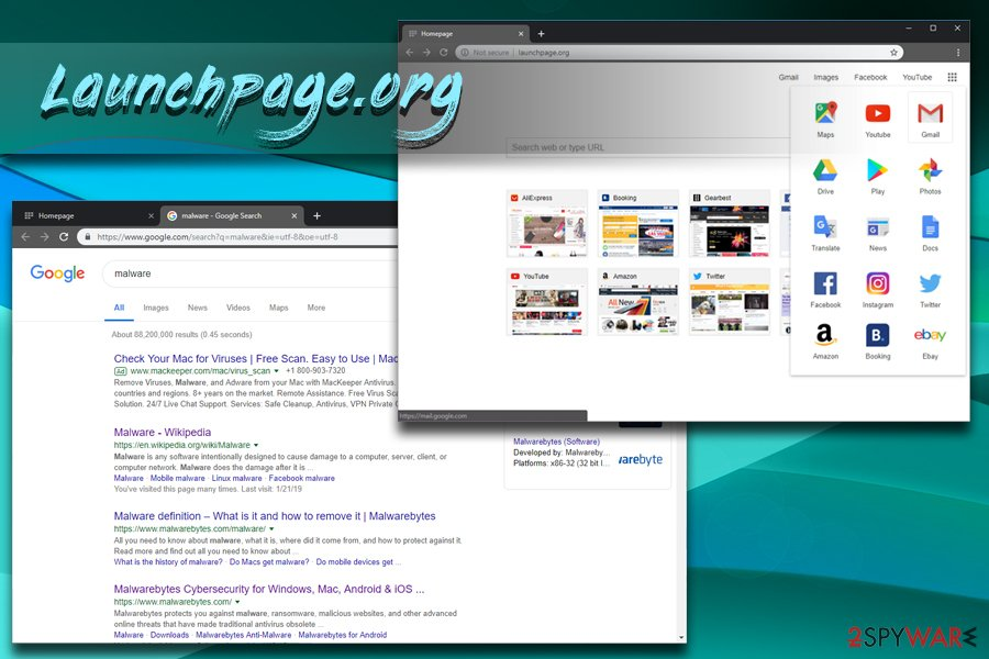 Launchpage.org redirects