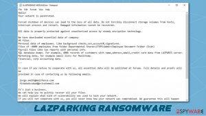 LAZPARKING ransomware