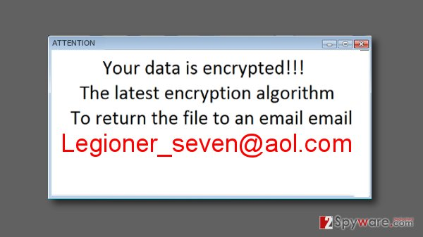 Ransom note left by Legioner_seven@aol.com virus