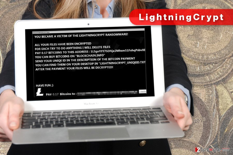 The image of LightningCrypt ransomware virus