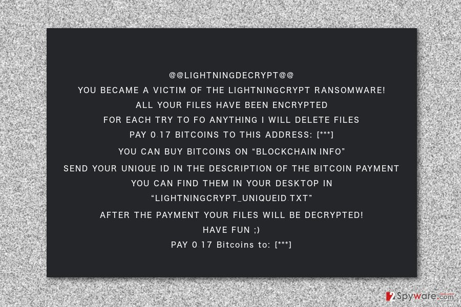 Ransom note by LightningCrypt ransomware virus