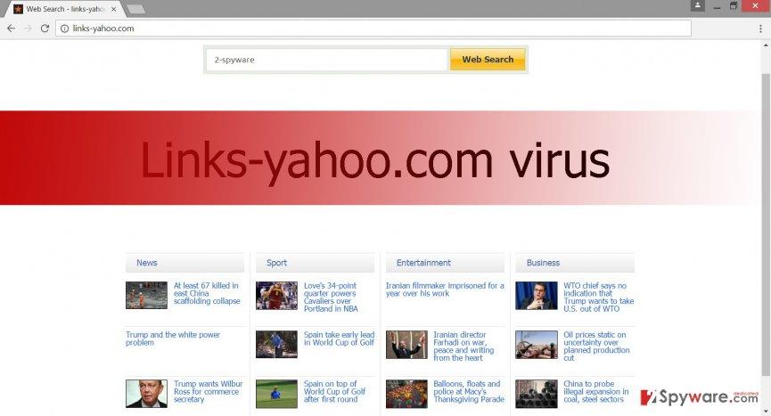 Screenshot of Links-yahoo.com virus