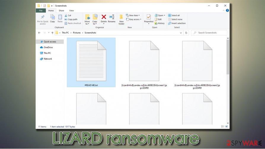 LIZARD virus encrypted files
