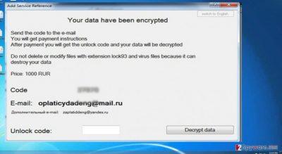 The image showing Lock93 virus