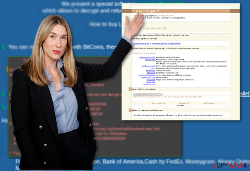 The image displaying Locky Decrypter and Locky ransom note