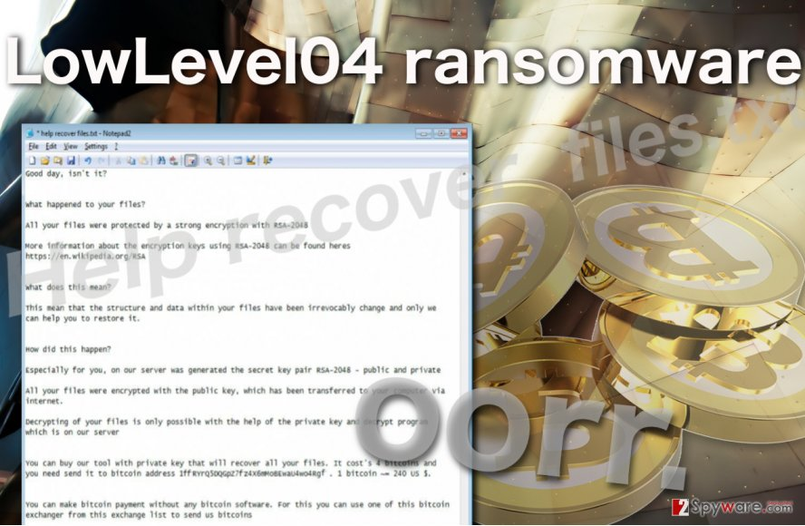 Image of the LowLevel04 ransomware virus