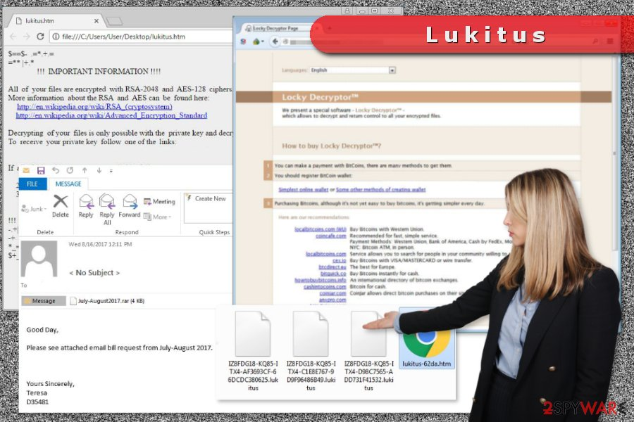 The example of Lukitus ransomware virus