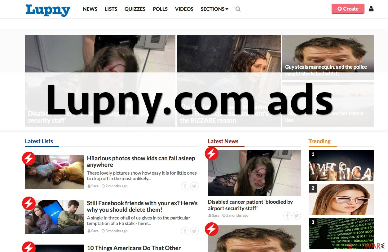 Lupny.com ads can be highly annoying