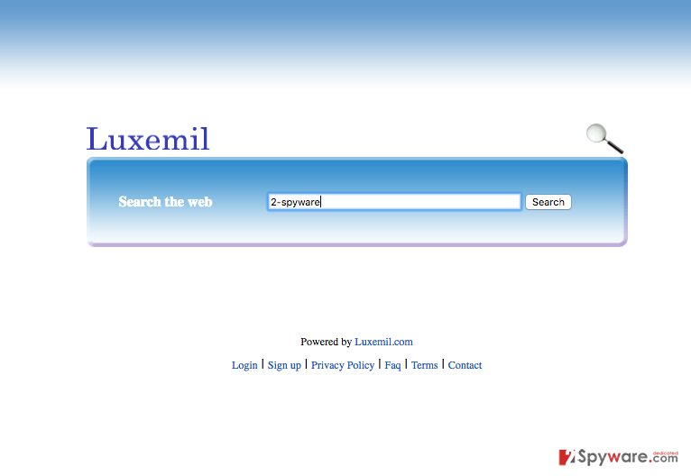 A screenshot of the Luxemil.com virus