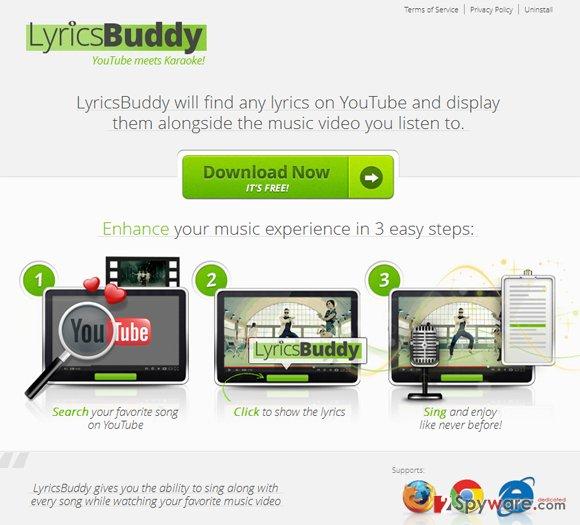 LyricsBuddy pop-up ads snapshot