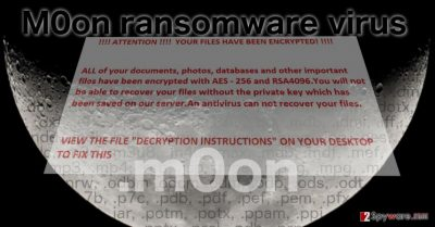 Image of the m0on ransomware virus