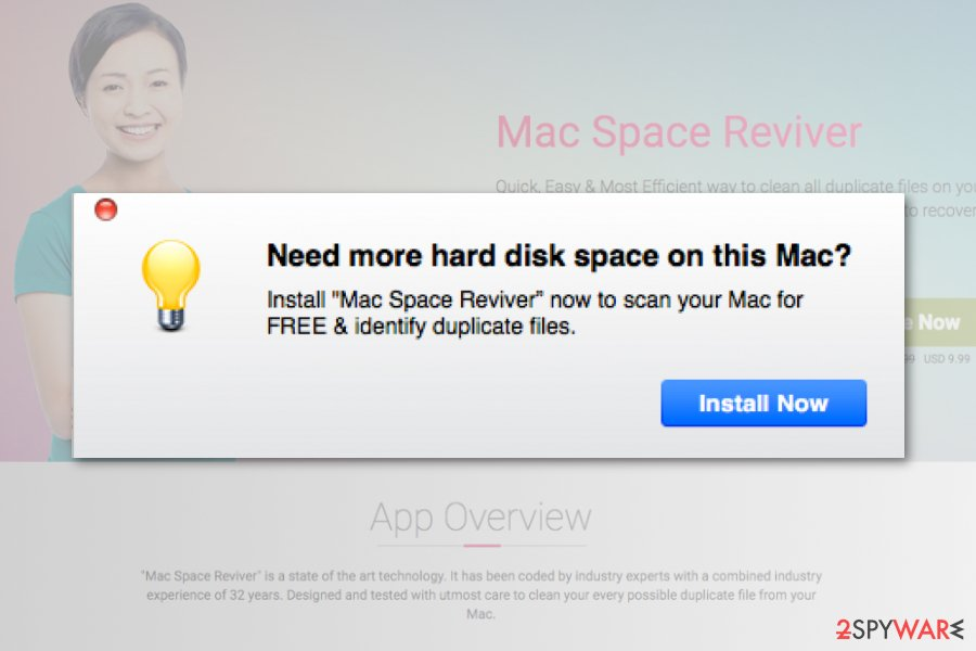 Mac Space Reviver ads promote installation