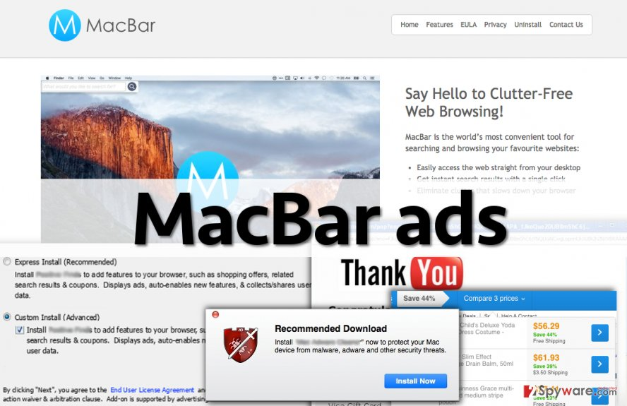 Screenshot of MacBar ads