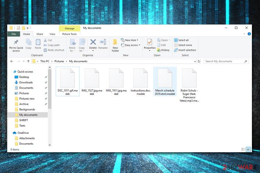 Madek ransomware locked files