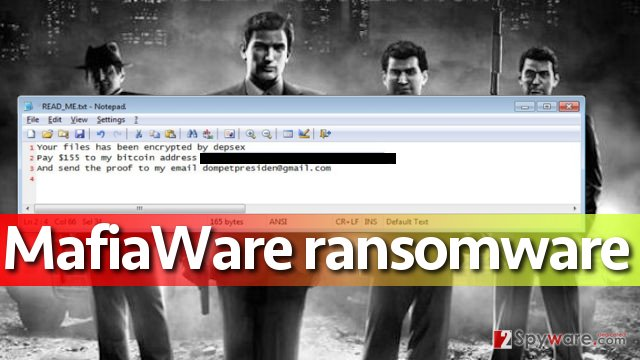 Screenshot of MafiaWare ransomware attack