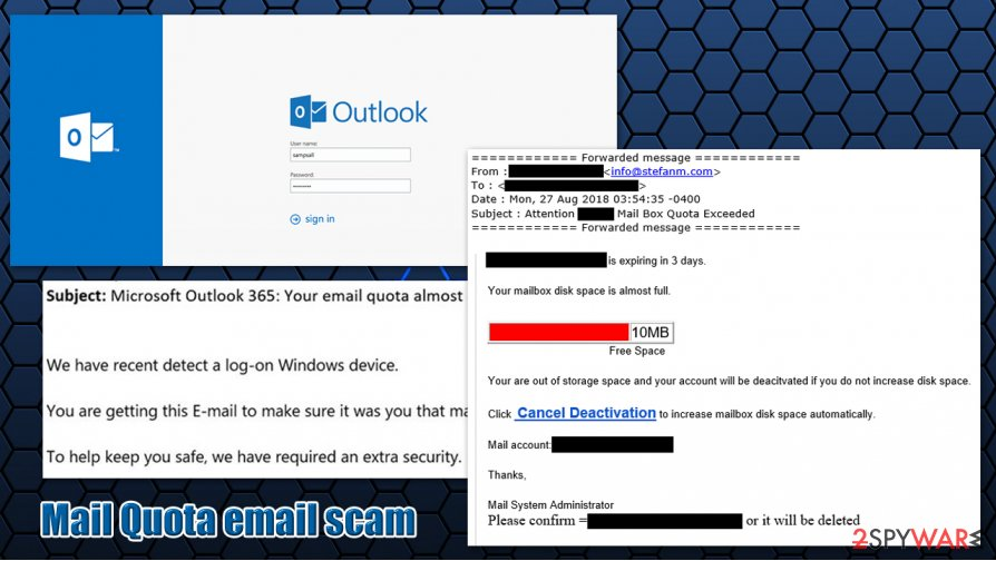 Mail Quota scam email
