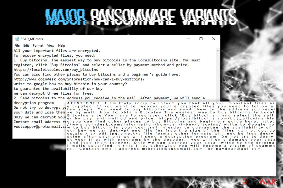 Major ransomware variants