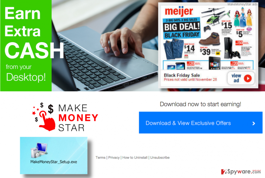 MakeMoneyStar adware website