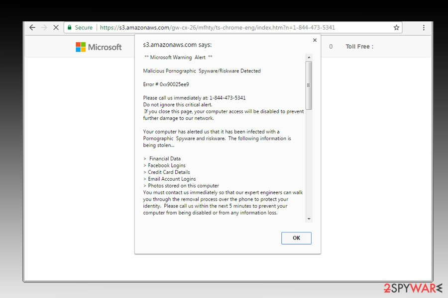 """Remove """"Malicious Pornographic Spyware/Riskware Detected"""