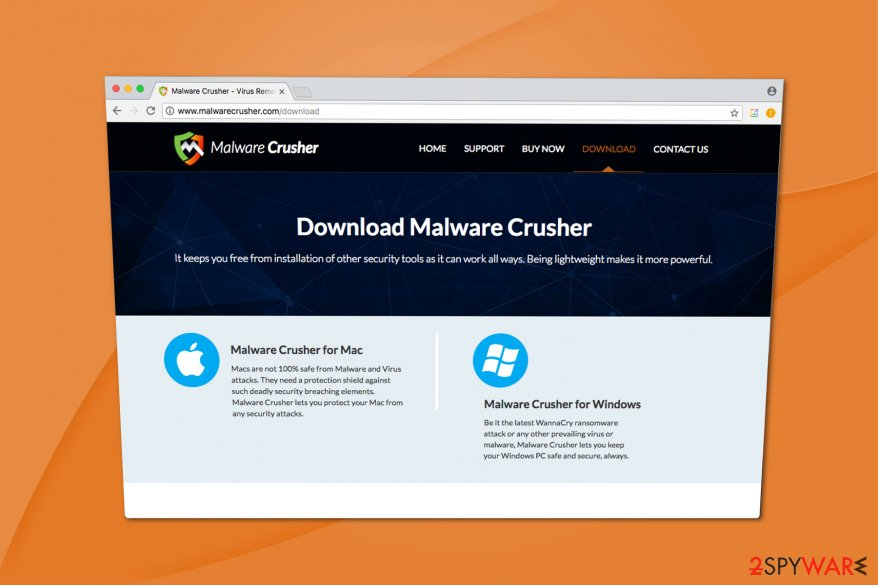 Malware Crusher is offered on the official website or distributed as bundled software
