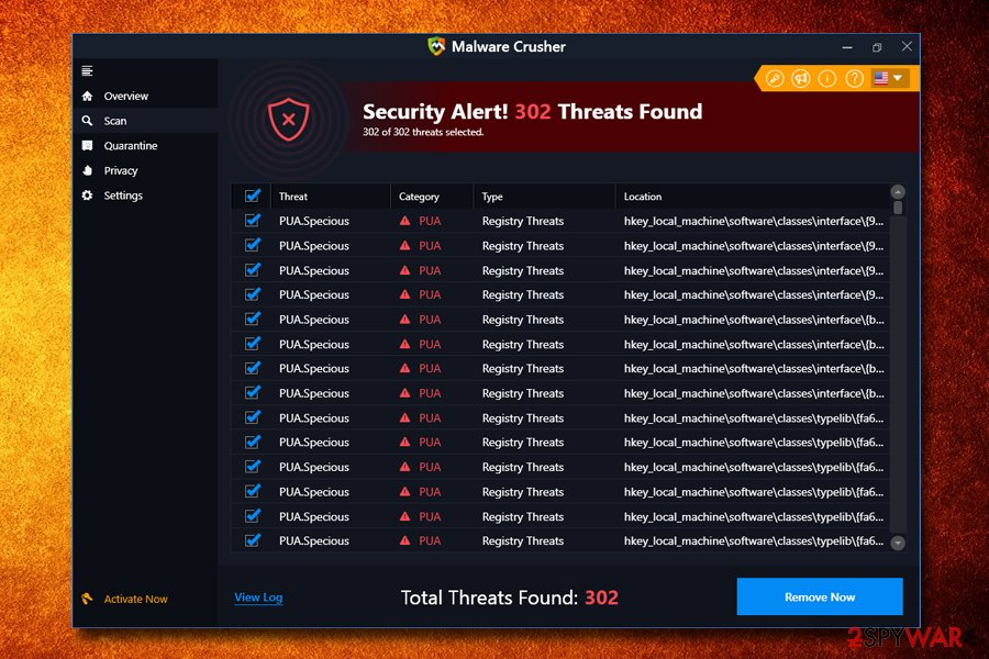 Malware Crusher scan results