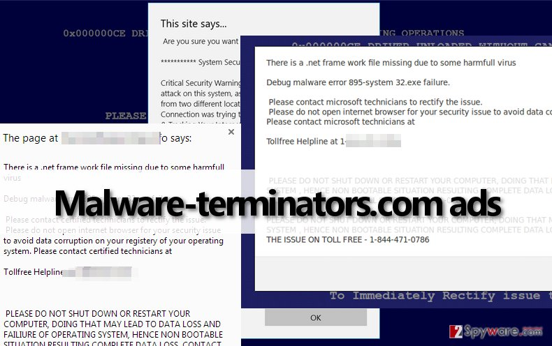 Malware-terminators.com adware urges victims to call a fake tech support number