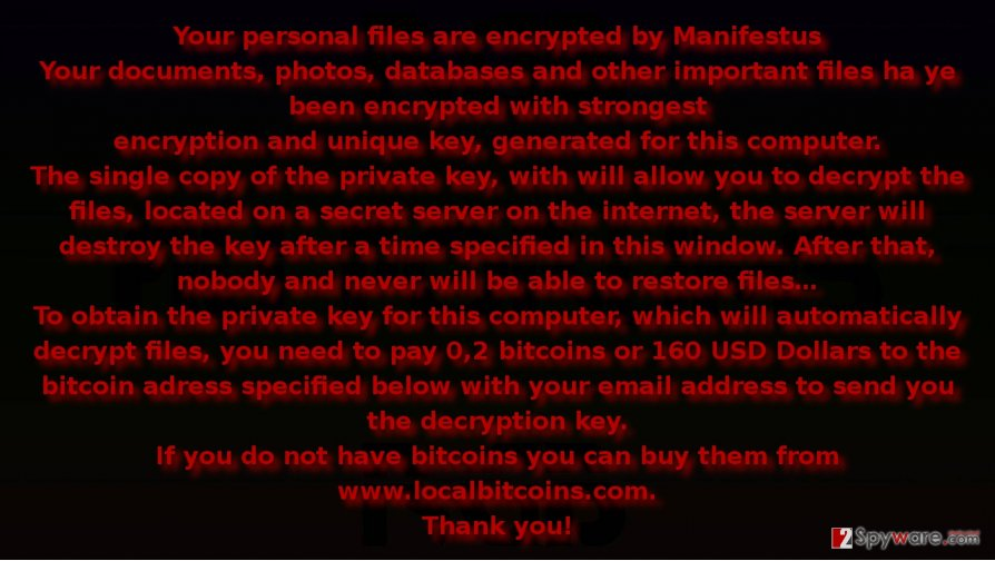 The ransom note of Manifestus