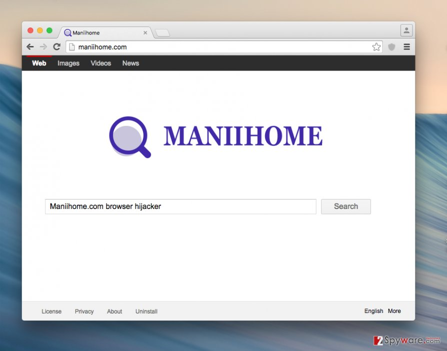Maniihome.com redirect virus