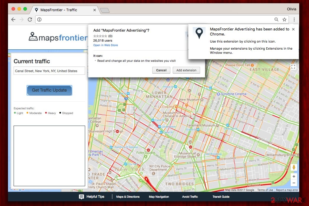 The webpage of MapsFrontier