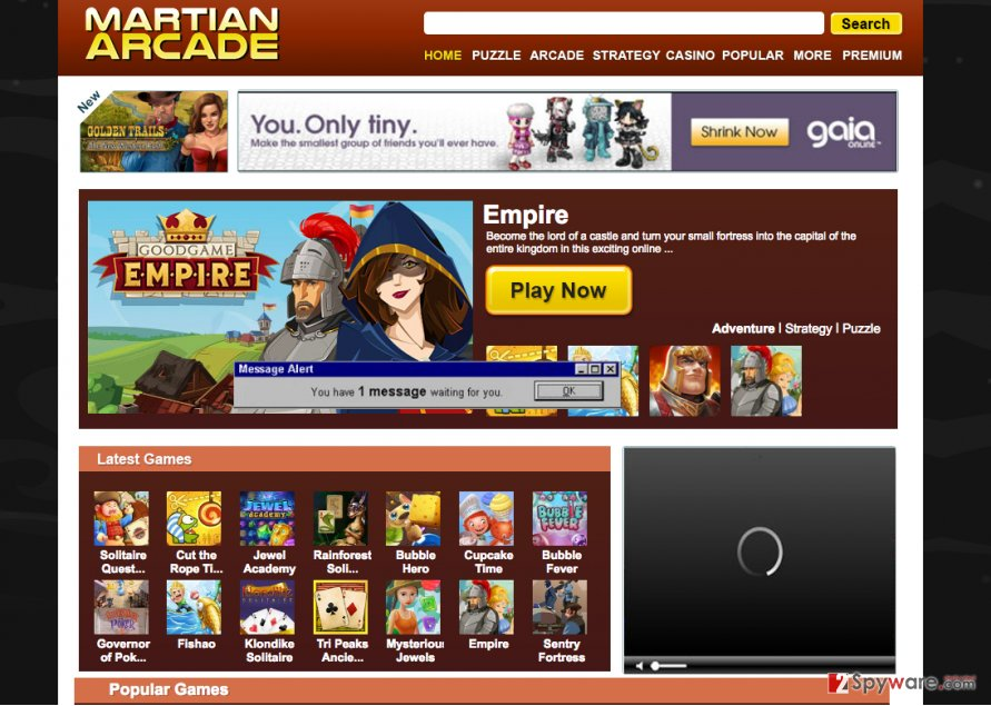 An illustration of the Martian Arcade website and ads