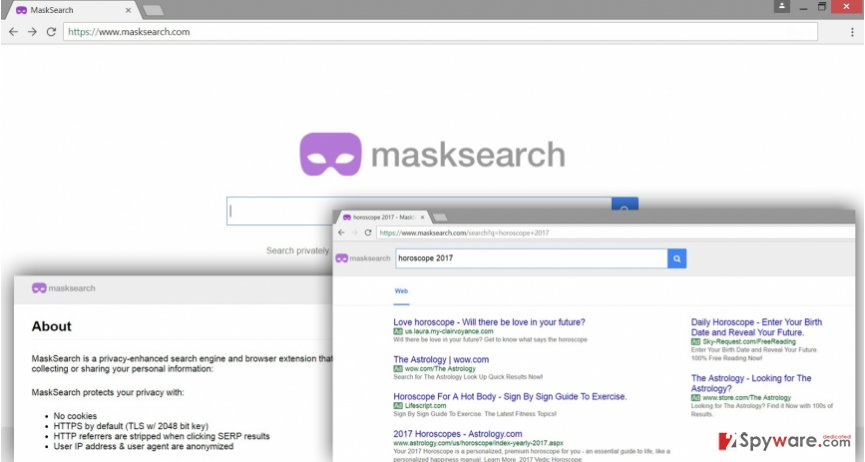 The illustration of MaskSearch.com virus