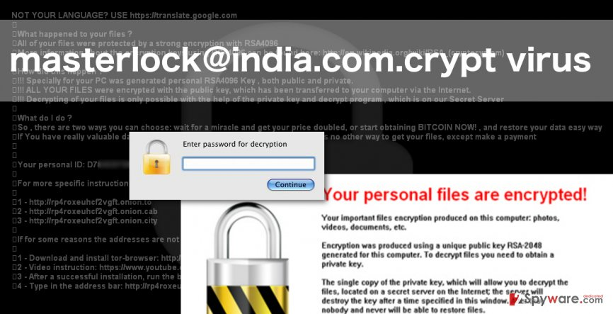 An image of masterlock@india.com.crypt virus