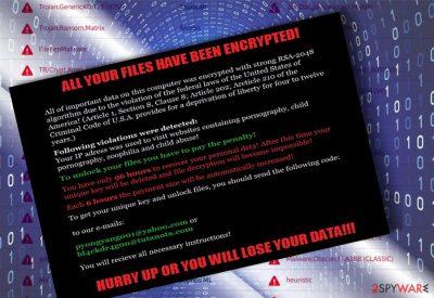 The screenshot of Matrix malware